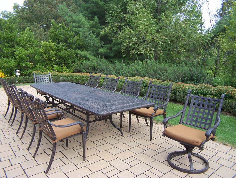 Purchase Aged Belmont Table Dining Set Sunbrella Cushions Product Photo