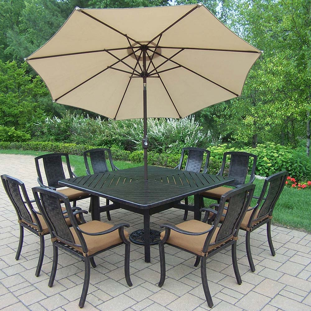 Purchase Aged Vanguard Set Table Chairs Umbrella Product Photo