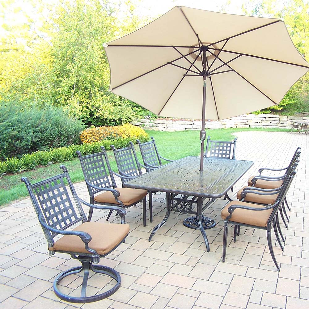 Purchase Aged Belmont Set Table Chairs Umbrella Product Photo