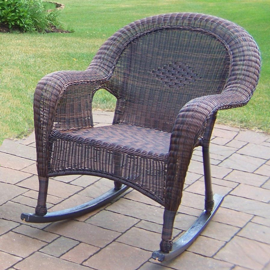 Beautiful Coffee Resin Wicker Rocker  24 825