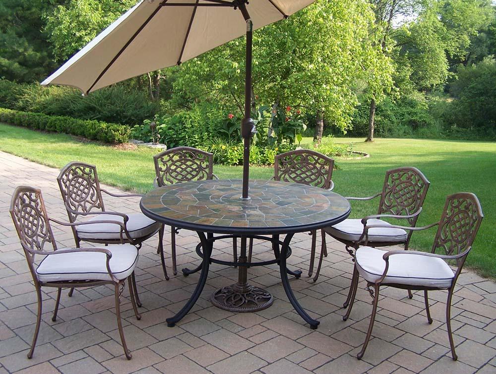Amazing Antique Bronze Set Cushions Table Umbrella Product Photo
