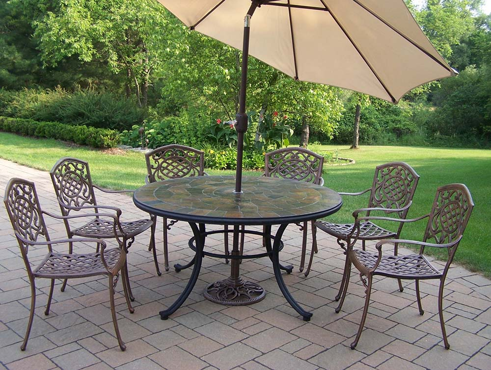 Choose Antique Bronze Dining Set Table Umbrella Chairs 1 339