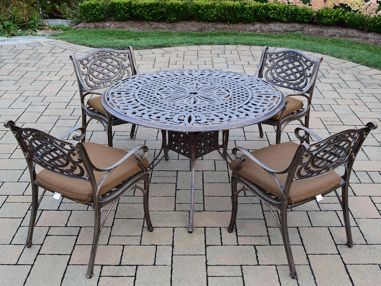 Optimal Capitol Cast Aluminum Antique Bronze Cushion Dining Set Product Photo