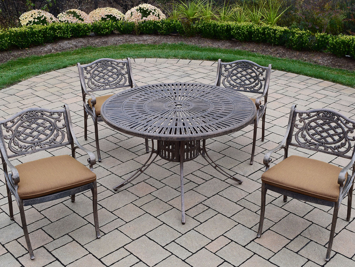 Remarkable Sunray Antique Bronze Dining Set Umbrella Hole 25 358