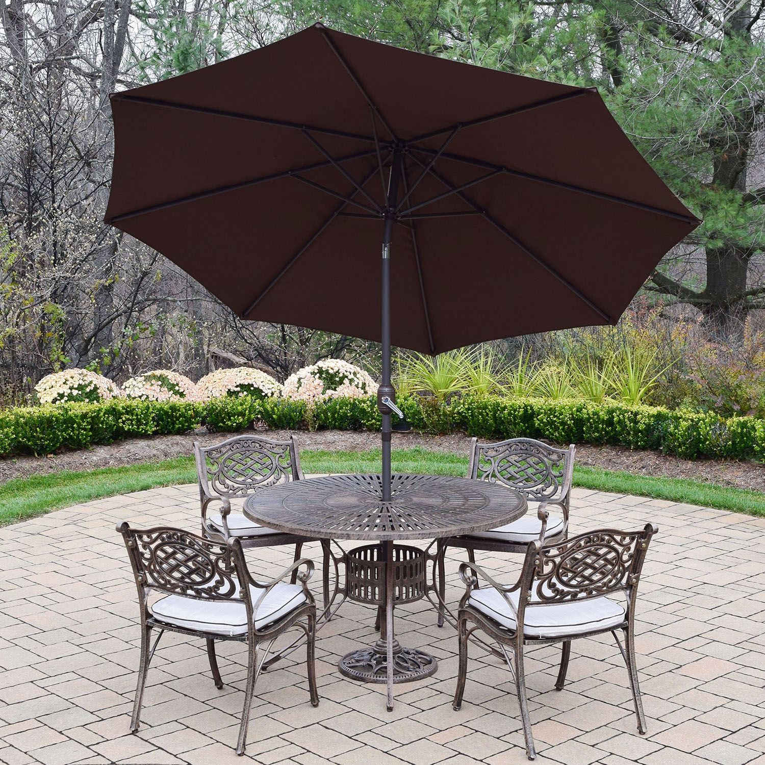 Information about Sunray Mississippi Antique Bronze Dining Set Umbrella Product Photo