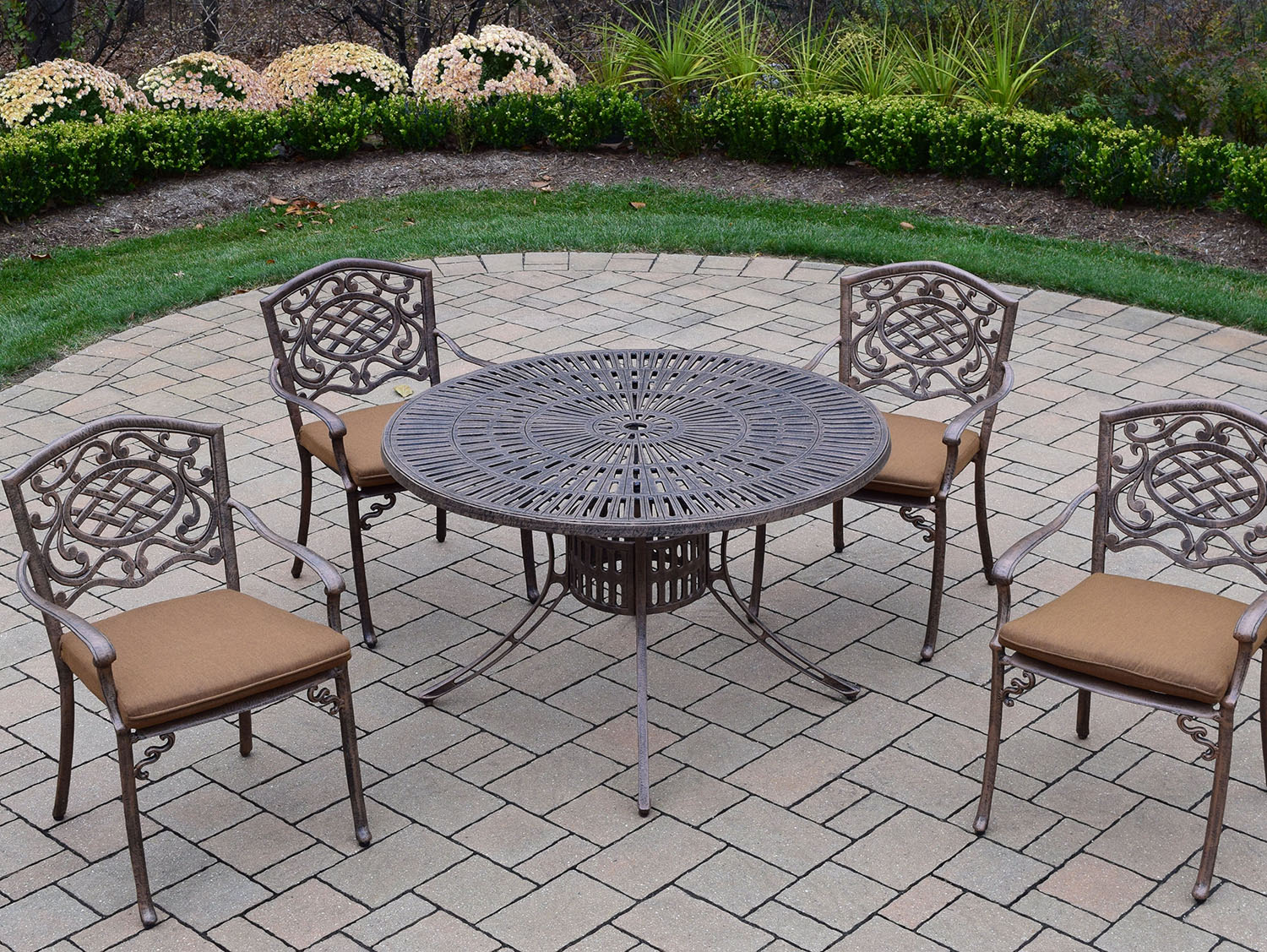 Tasteful Sunray Antique Bronze Dining Set Cushions Product Photo