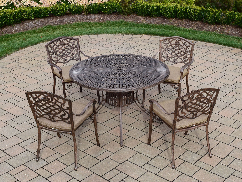 Money saving Sunray Cast Aluminum Antique Bronze Cushion Dining Set Product Photo