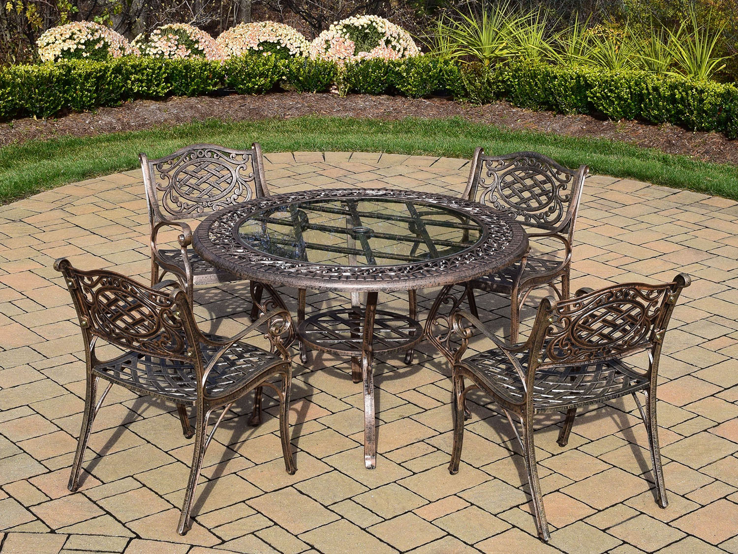 Trustworthy Mississippi Antique Bronze Glass Top Dining Set Product Photo