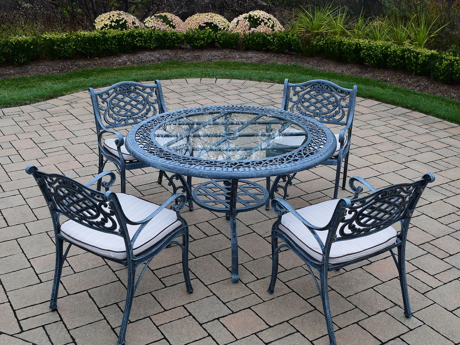 Choose Verdi Grey Mississippi Glass Top Cush Dining Set 2 12