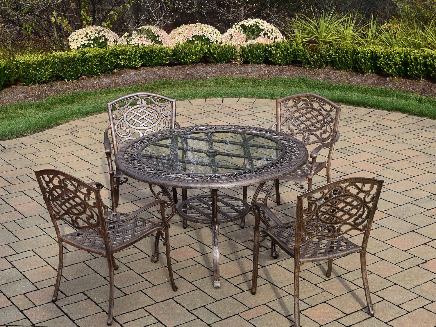 User friendly Mississippi-Cast-Aluminum-Patio-Antique-Bronze-Dining-Set-Round-T Product Image 392