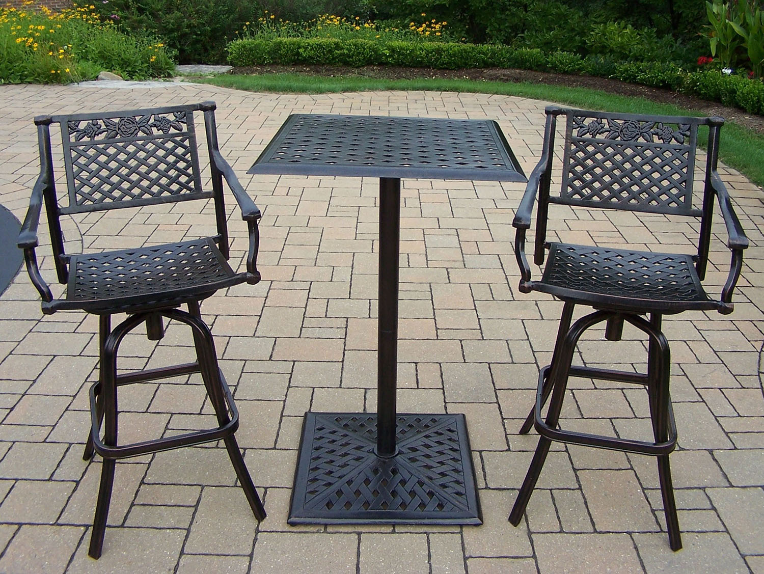 One of a kind Rose-Cast-Metal-Swivel-Bar-Stool-Table-Set Product Image 425