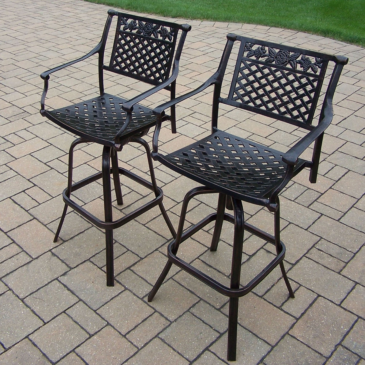 Exquisite Rose Cast Aluminum Pair Swivel Bar Stools  Product Photo