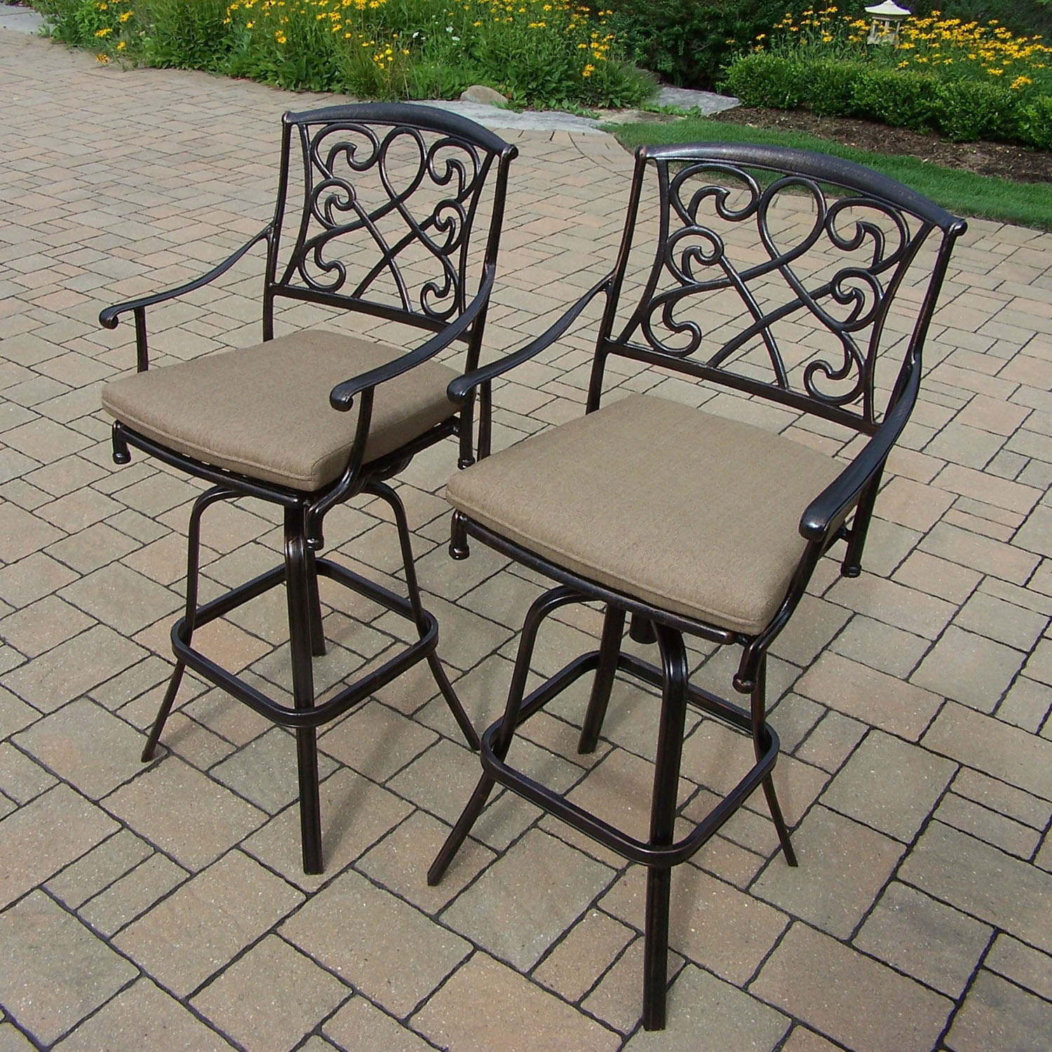 Optimal Grace Cast Aluminum Cushion Swivel Bar Stools  Product Photo