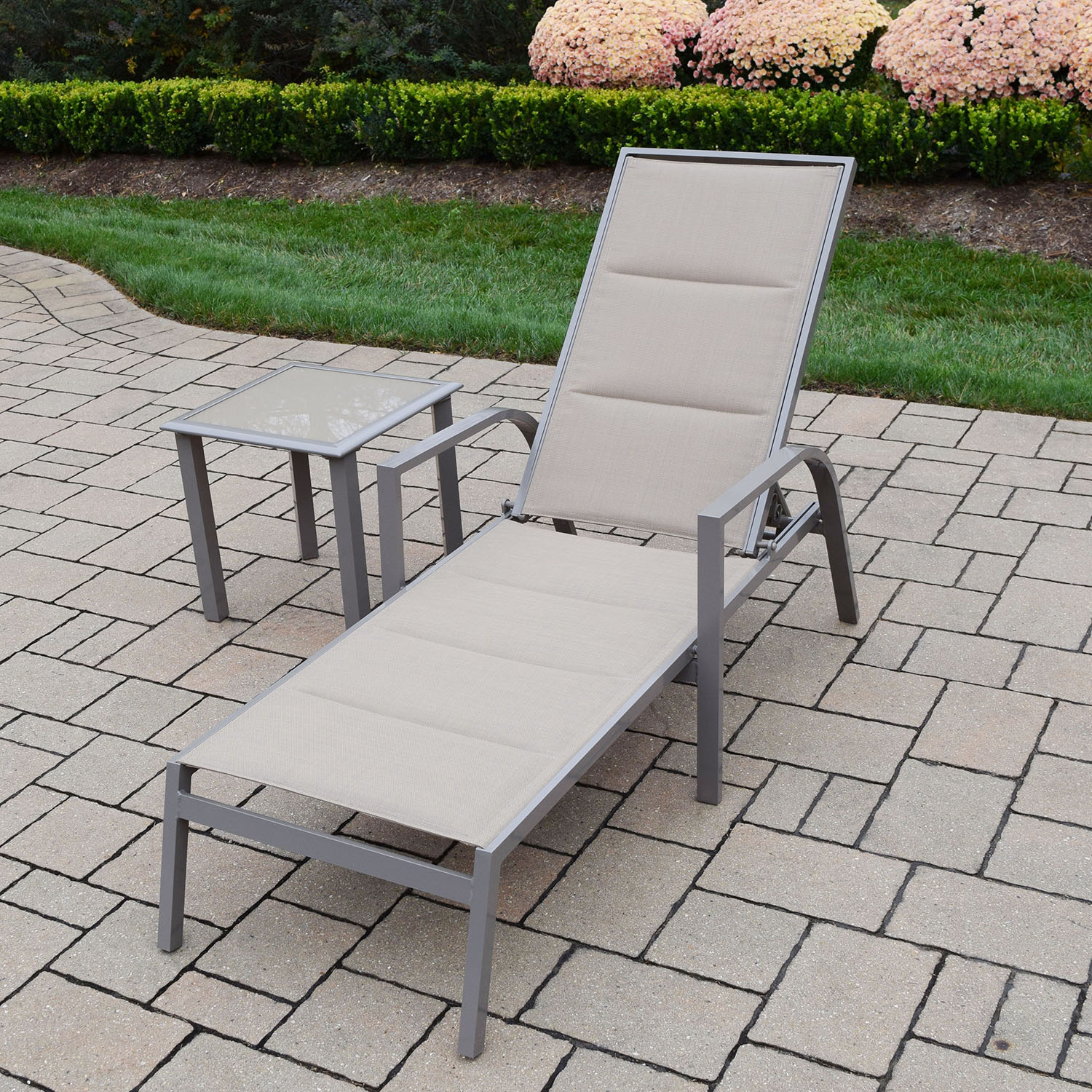 New Champagne Sling Aluminum Chaise Lounge Side Table Product Photo