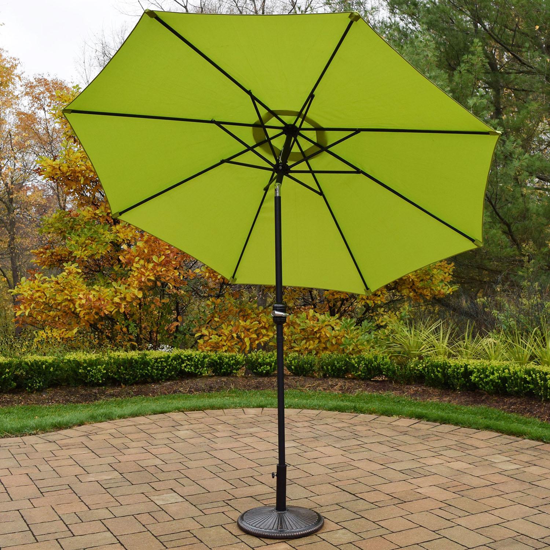9 Foot Green Crank/tilt Umbrella Black Pole With Stand