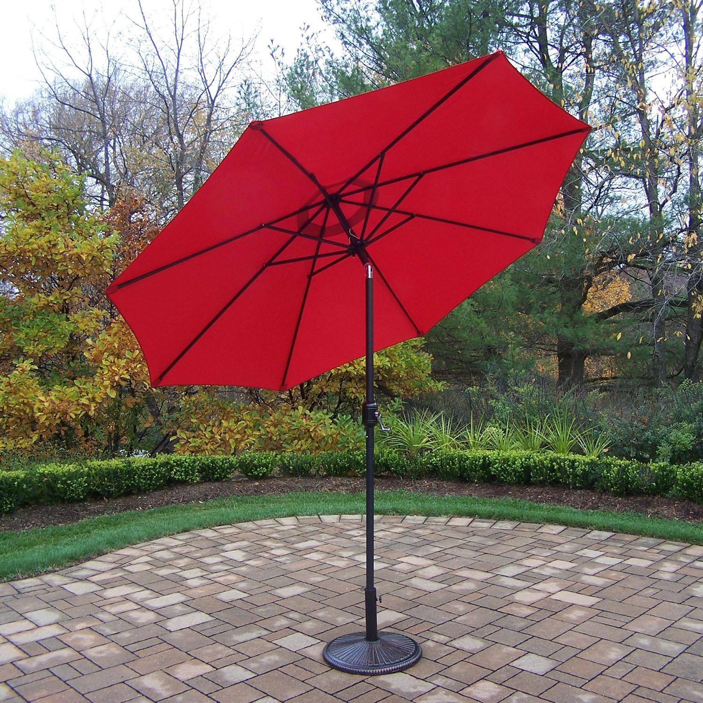 9 Foot Red Crank/tilt Umbrella Black Pole With Stand