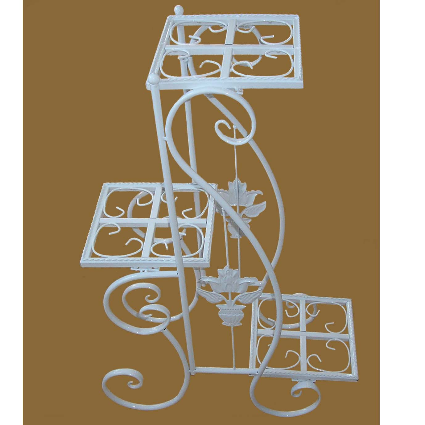 White Plant Stand with Triple Square Pot Holders 5999-WT