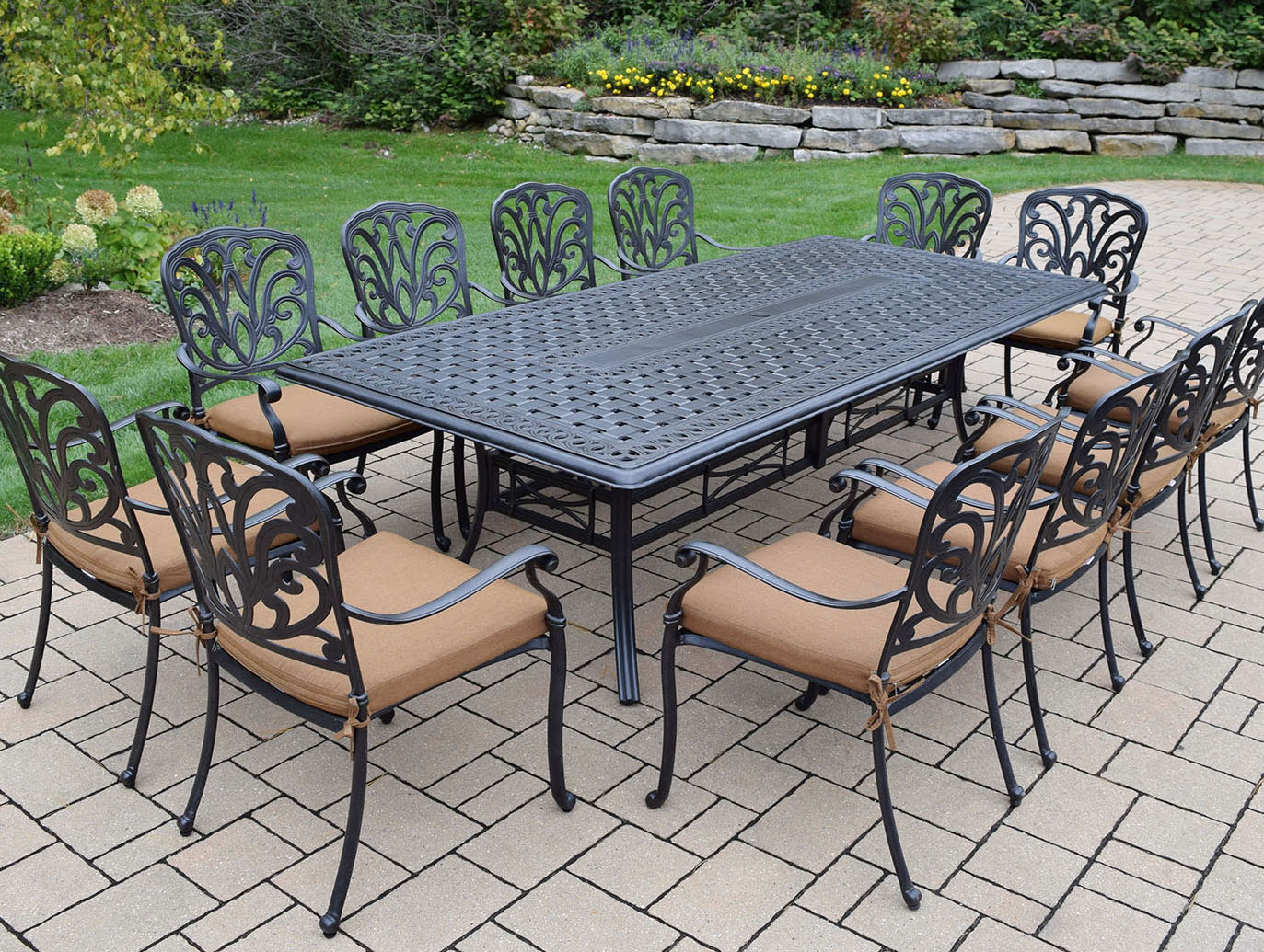 Purchase Hampton Dining Set Brown Cushioned Chairs Product Photo