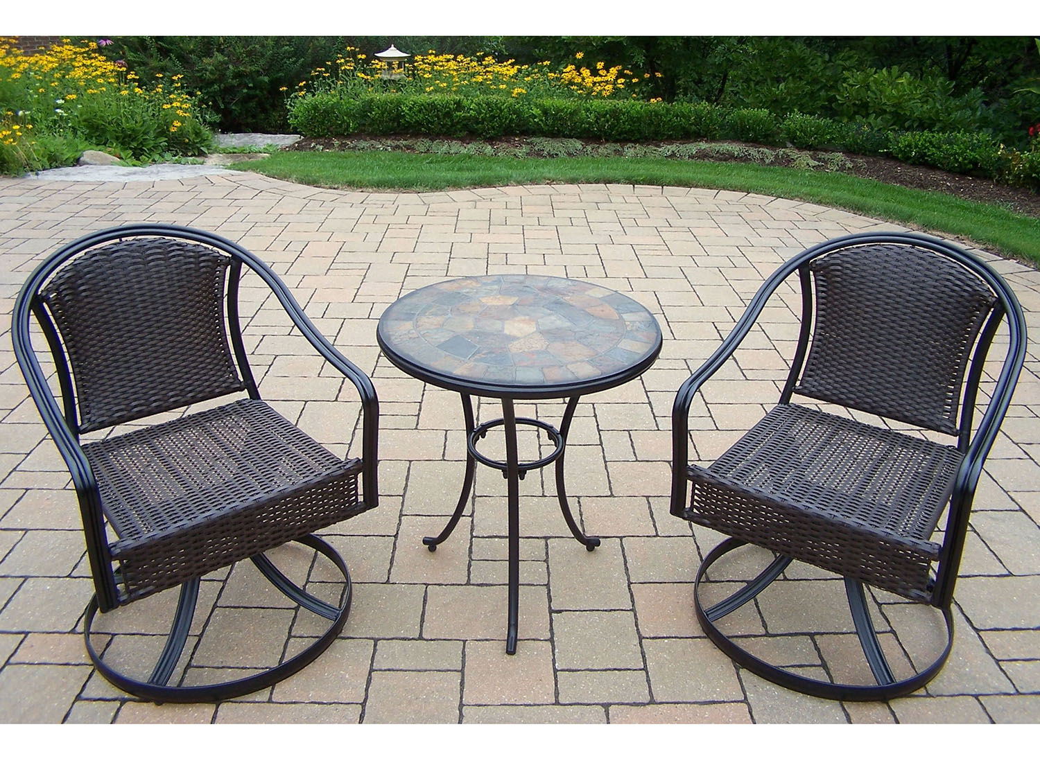 Learn more about Stone Art Rochester Bistro Set Wicker Swivels Product Photo