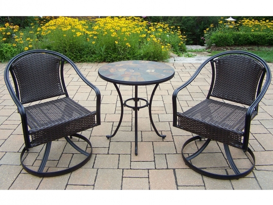 oakland living 3pc bistro set with tuscany wicker swivel chairs