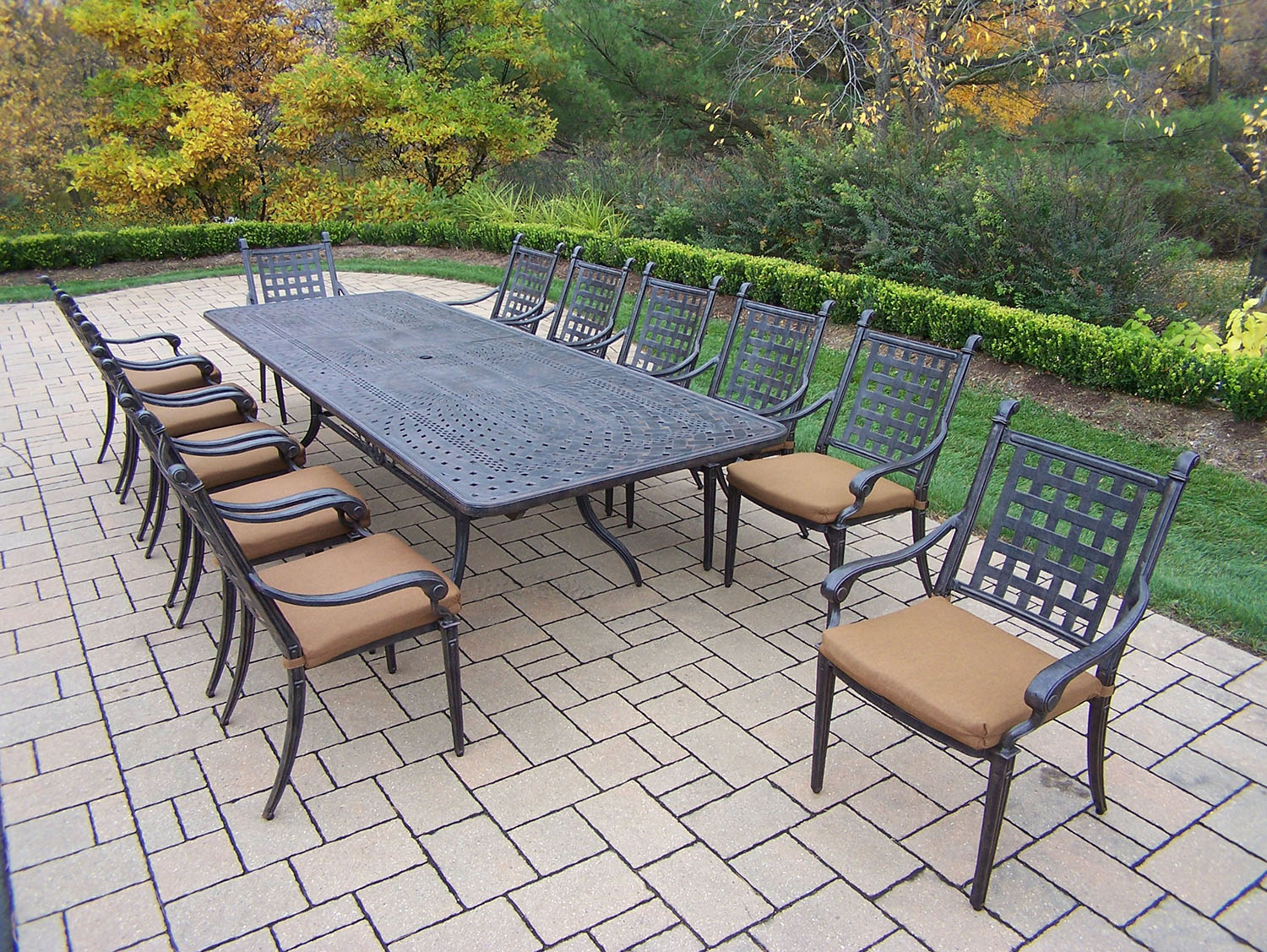 Oakland living belmont 13pc aged aluminum dining set for 12 person outdoor dining table