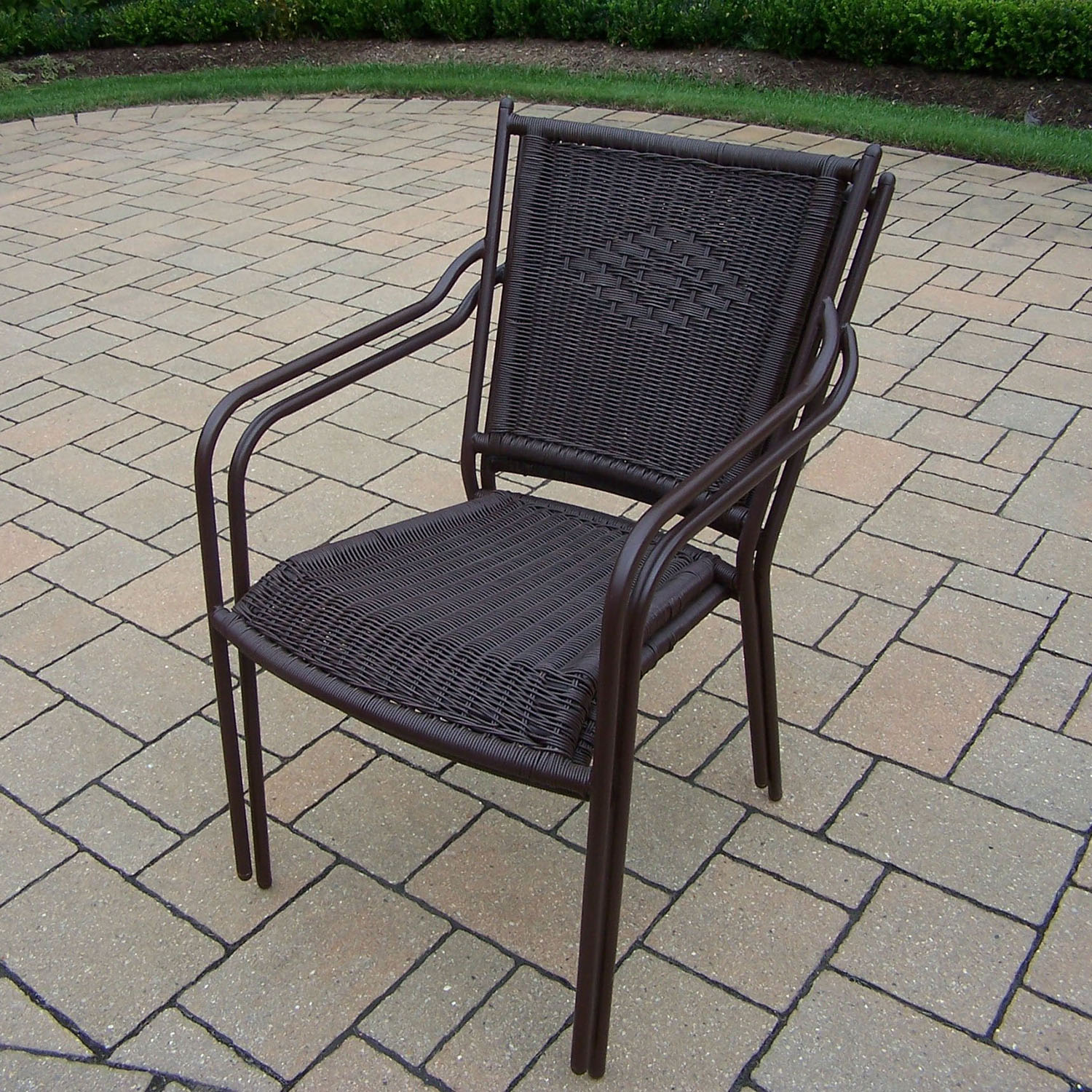 View Coffee Stackable Straight Back Wicker Chair  Product Photo
