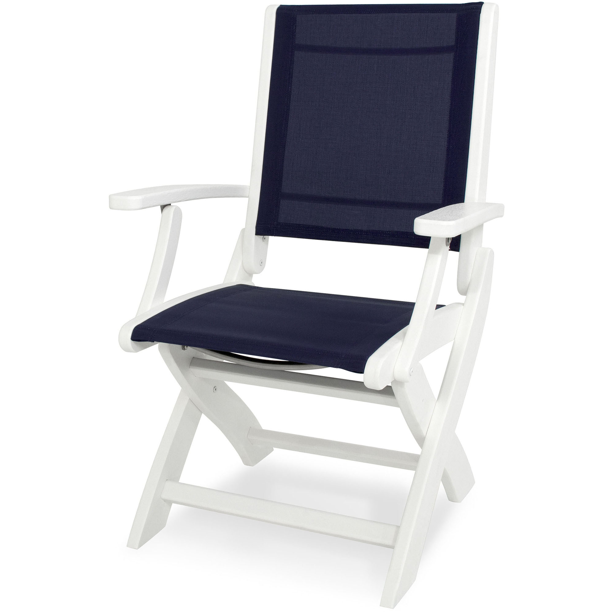 Money saving Coastal Folding Chair Navy Sling Product Photo