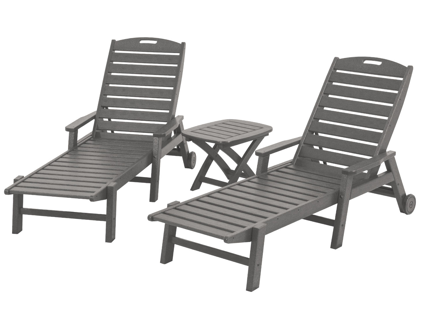 Polywood nautical 3 piece chaise set by best patio for Chaise 3 pieds