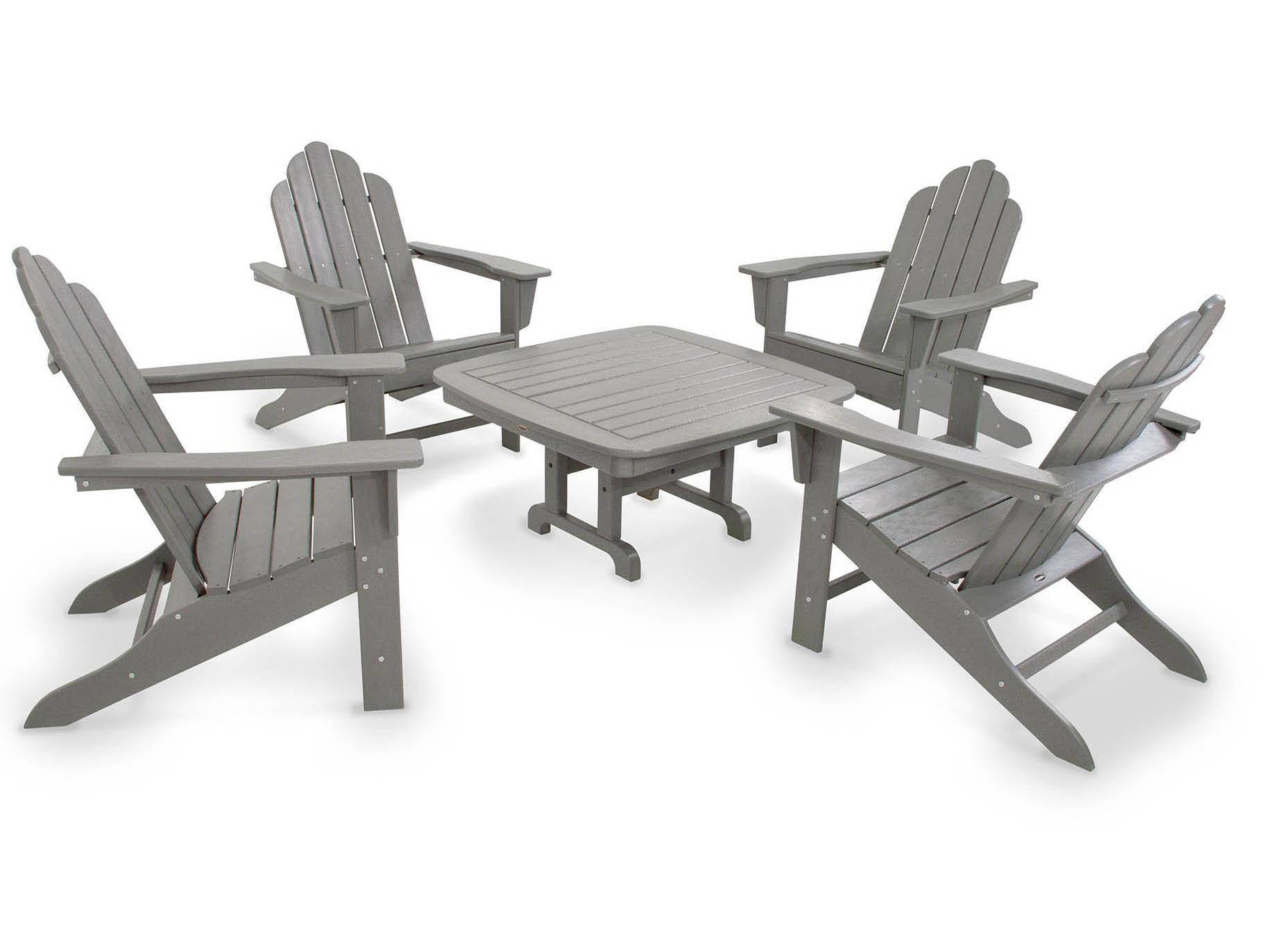 Serious Long Island Adirondack Slate Grey Conversation Set Product Photo