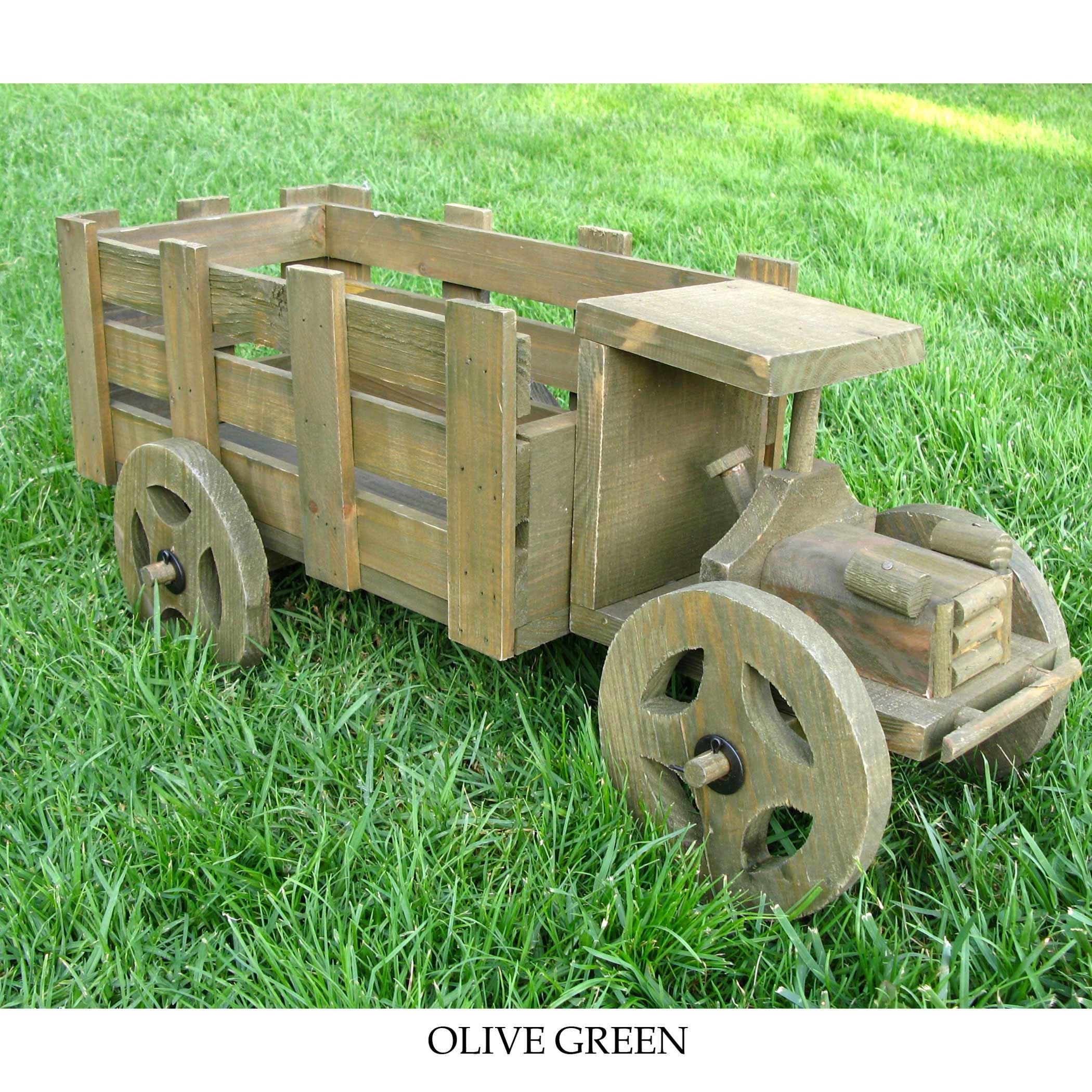 Olive Green Cedar Truck Planter 4901