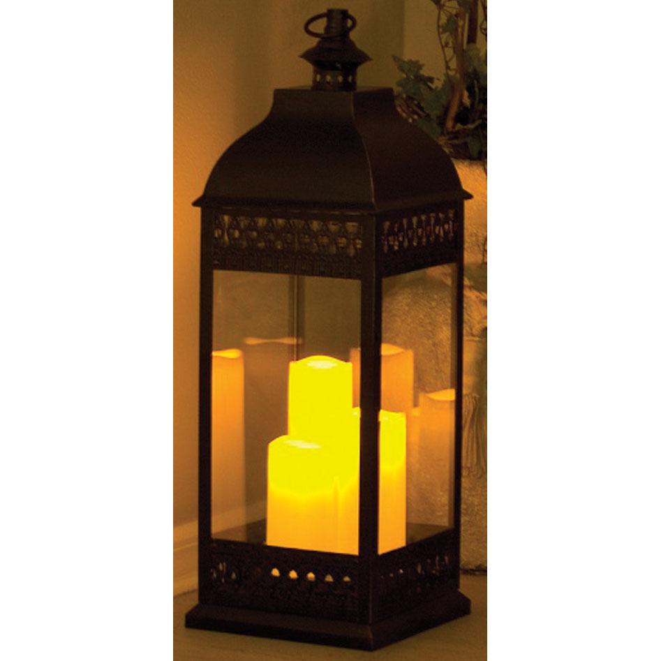 Smart Solar San Nicola Triple Candle Bronze Led Lantern