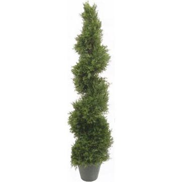 4 3 foot artificial outdoor pond cypress spiral topiary for Artificial plants for outdoor ponds