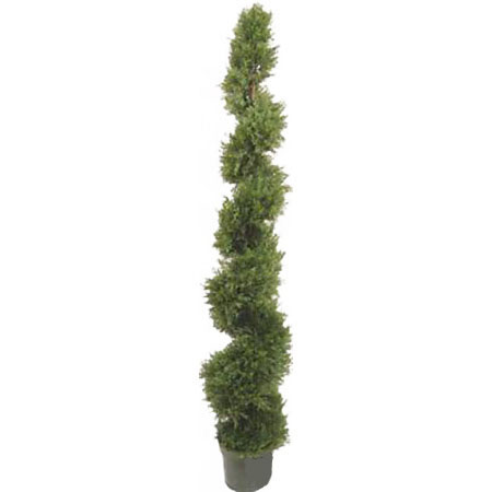 6.4 Foot Artificial Pond Cypress Spiral Topiary
