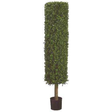 4.8 Foot Artificial Boxwood Cylinder Topiary Tree: Potted - Overstock