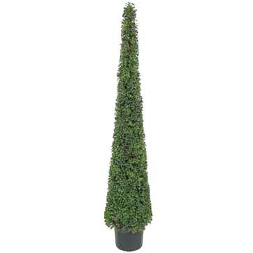 6 Foot Artificial Boxwood Cone Tower Topiary Tree: Potted