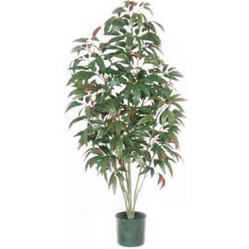 5 Foot Artificial Red/Green Mango Tree: Potted
