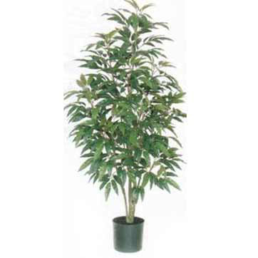 5 Foot Artificial Green Mango Tree: Potted