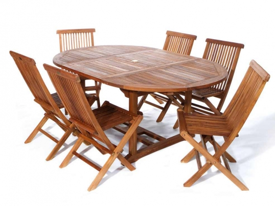 Teak Folding Chair all things cedar | 7pc. oval table teak folding chair set | te70