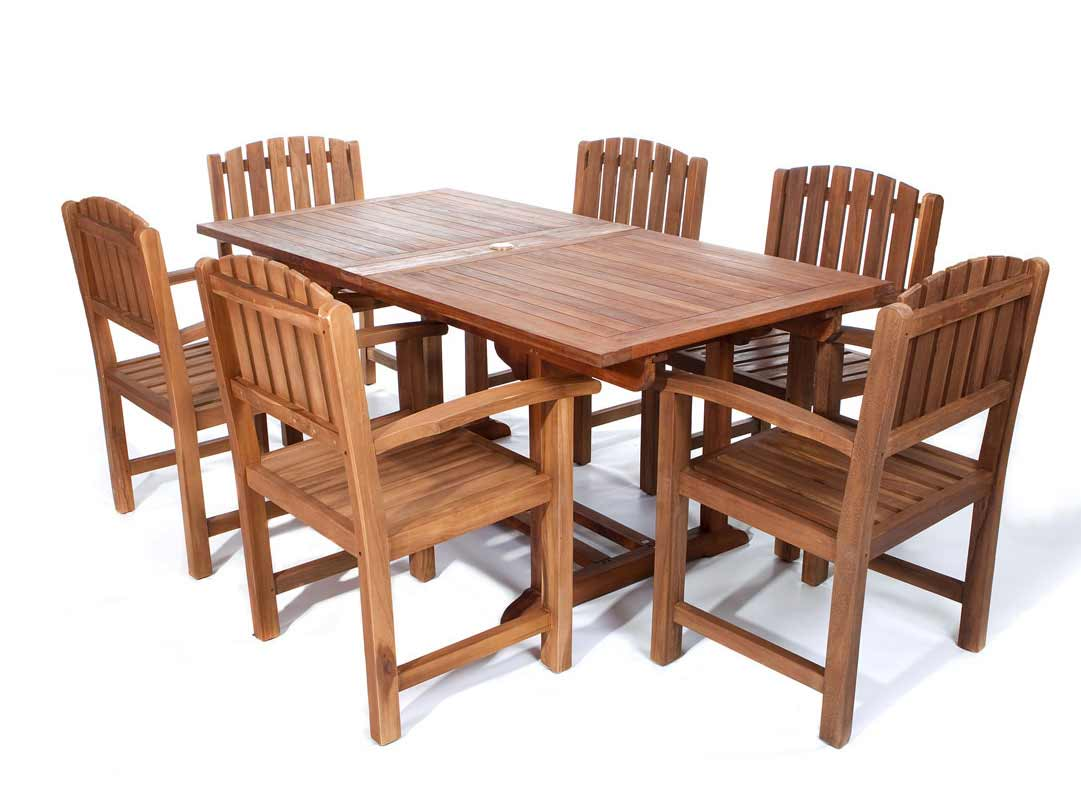 Stylish Pc Rectangle Table Teak Dining Arm Chair Set Product Photo