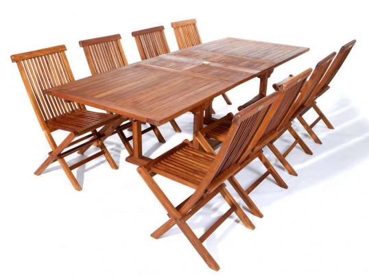 Rectangle Table Teak Folding Chair Set  sc 1 st  Artificial Plants and Trees & All Things Cedar | 9pc. Rectangle Table Teak Folding Chair Set ...