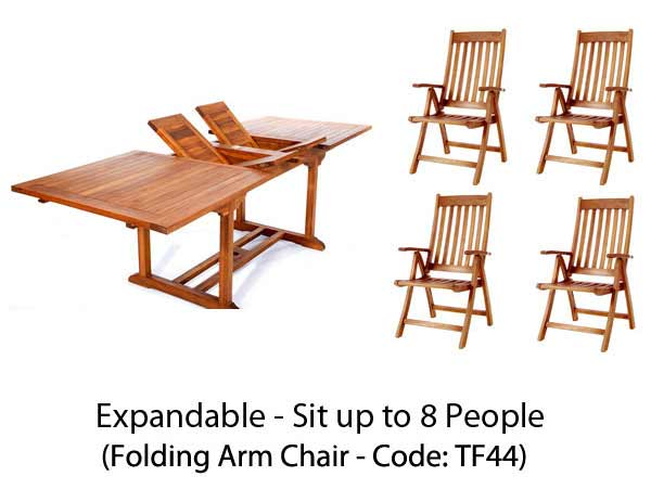 Pretty Pc Rectangle Table Teak Folding Arm Chair Set Product Photo