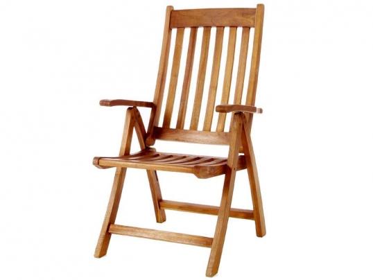 Slim Logo; 5   Position Teak Folding Arm Chair