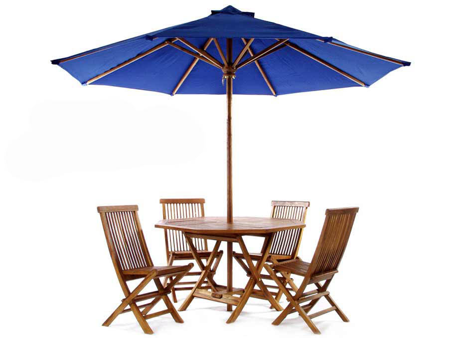 Unique Pc Teak Folding Table Set Umbrella Product Photo