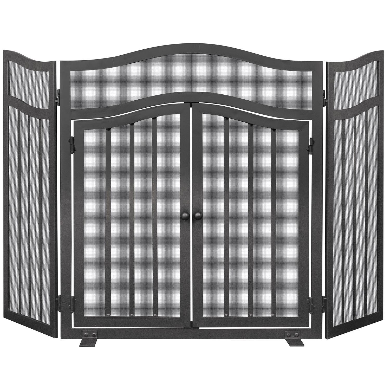 uniflame 3 panel black wrought iron fireplace screen