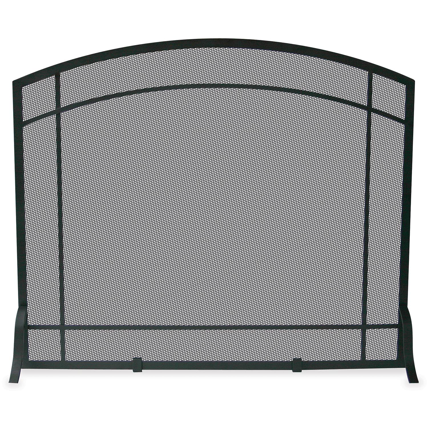 Uniflame Single Panel Black Wrought Iron Mission Fireplace Screen S 1029