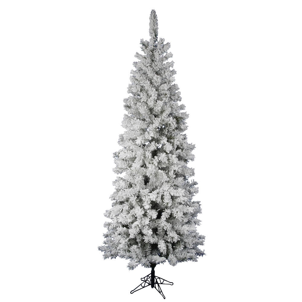 8.5 foot Flocked Pencil Pacific Pine Christmas Tree: Unlit A100380