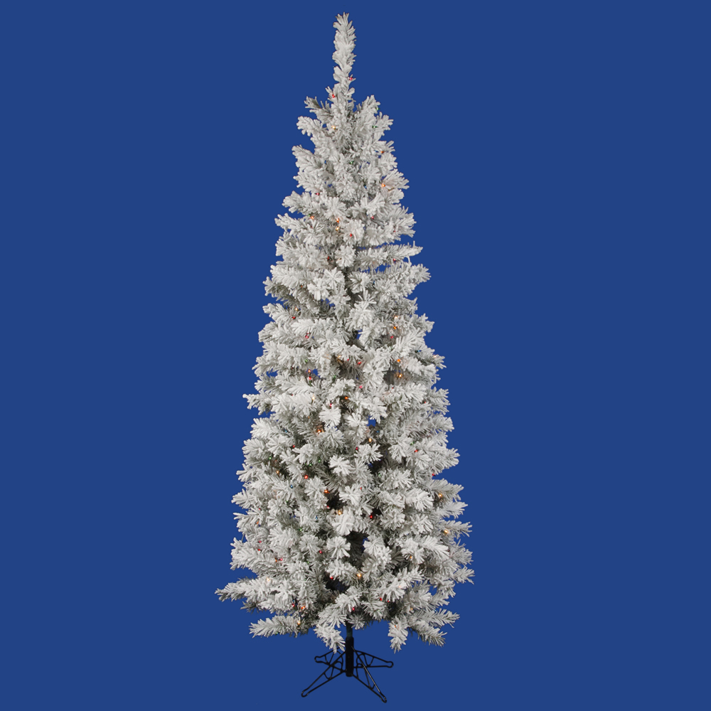8.5 foot Flocked Pencil Pacific Pine Christmas Tree: Multi-Colored LED Lights A100382LED