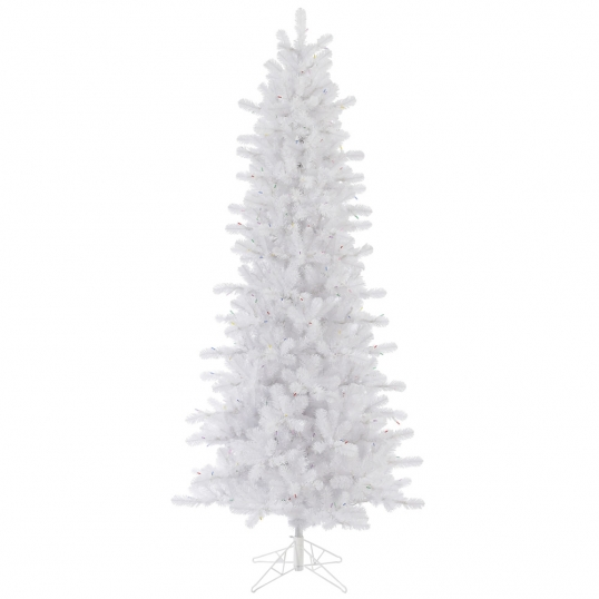 slim logo 10 foot crystal white slim christmas tree unlit - Skinny Christmas Trees