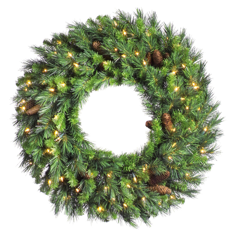 60 inch Cheyenne Pine Wreath: Warm White LED Lights A801061LED