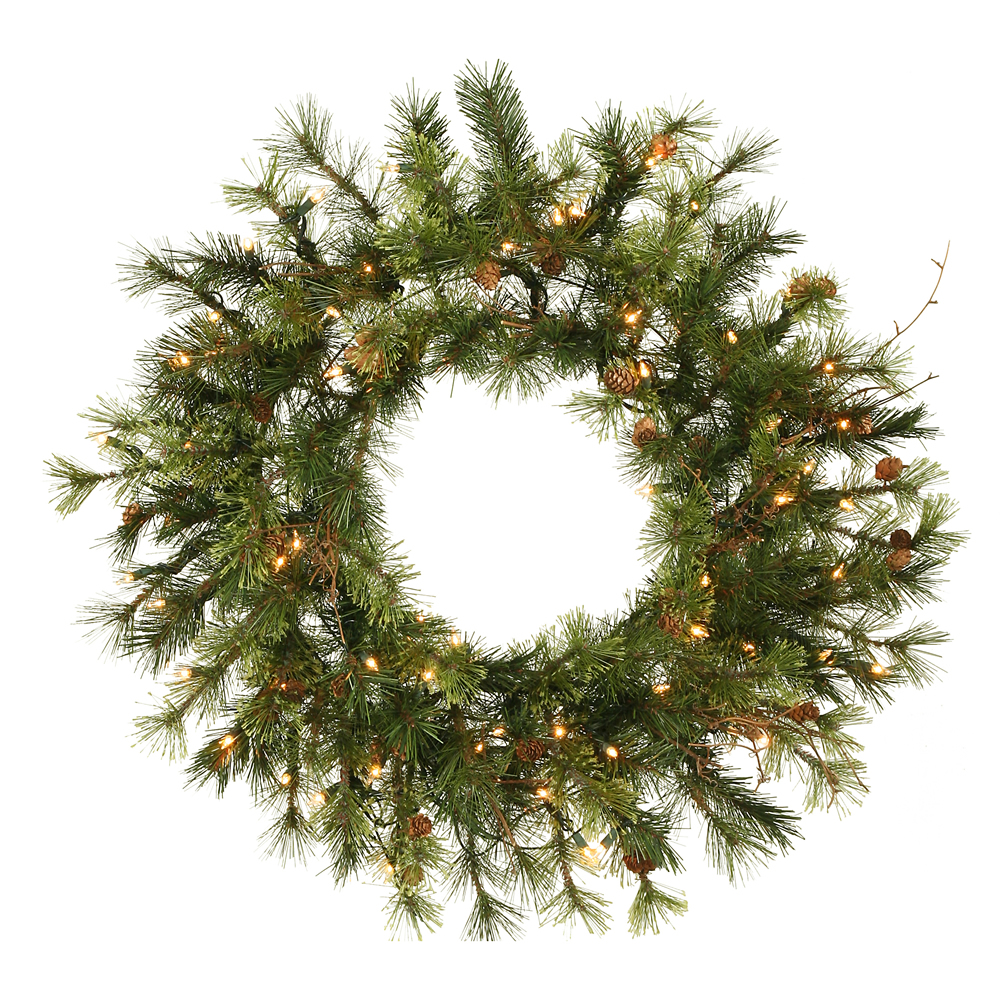 Excellent Mixed Country Pine Wreath Clear Leds Product Photo